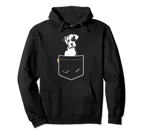 Harlequin Great Dane Pocket Dog Kids Girls Puppy Lover Sudadera con Capucha