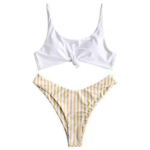 ZAFUL Damen Bikini Set Kontrast Vorne Knoten Streifen Bikini Set 2 Stück High Cut Badeanzüge - Gelb - Small