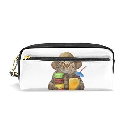 Federmäppchen aus PU-Leder für Katzen, Strohhut mit Macaron-Orange Saft Kosmetik Make-up Multifunktionstasche mit Reißverschluss Büro Schreibwaren für Kinder, Teenager, Jungen, Mädchen, Männer, Frauen