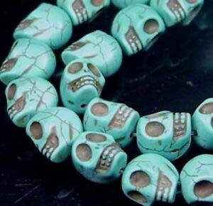16 Small Blue Turquoise Carved Skull Beads Halloween 12x10mm Spacer Beads and Roll Crystal String for Bracelets Jewelry Making