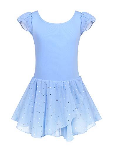 Arshiner Vestido de ballet para niña, de algodón, de manga corta, con tutú azul 140