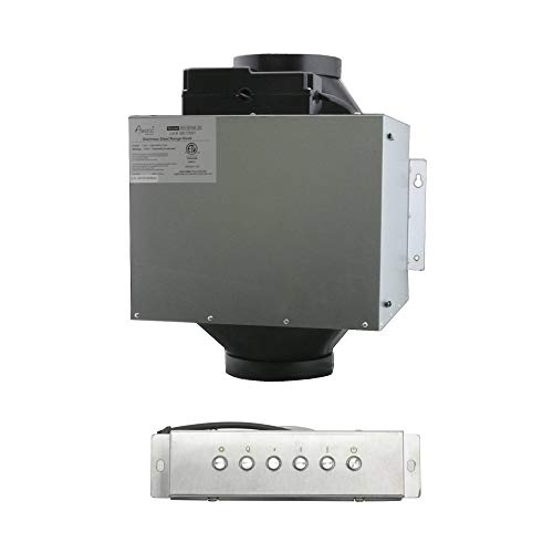 Awoco Split Super Quiet Range Hood Inline Blower Unit And Control, 4 Speeds 800CFM 6' Round Vent (6' Blower + Control)