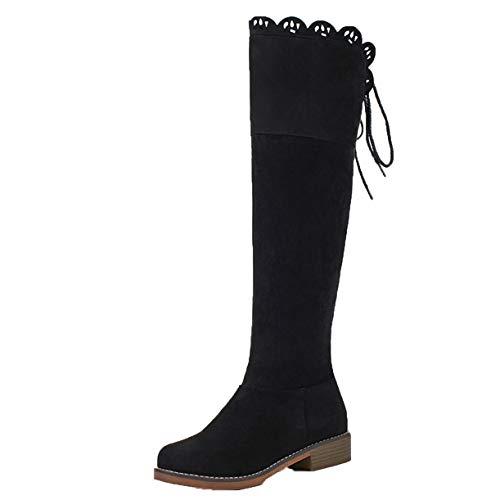 Klassische Damenstiefel Blockabsatz High Heels Schnürstiefel mit Reißverschluss Damen Langschaftstiefel zum Schnüren Schwarz 33.5EU