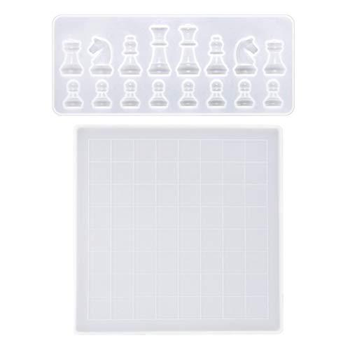 GREEN&RARE Hecho a mano de resina epoxi de cristal, juego de moldes de silicona para tablero de ajedrez para manualidades y bisutería.