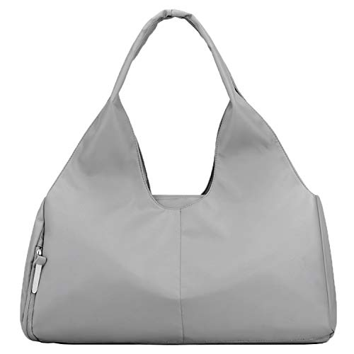 Forestfish Duffel Bag Gym Totes with Dry Wet Pocket & Shoes Compartment for Women and Men, Grey
