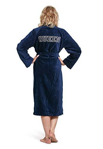 Badrock - Bademantel mit Namen Bestickt - Marine Blau - 100% Baumwolle - Herren und Damen - mit Stickerei - Personalisiert (XXL) - SKU 600
