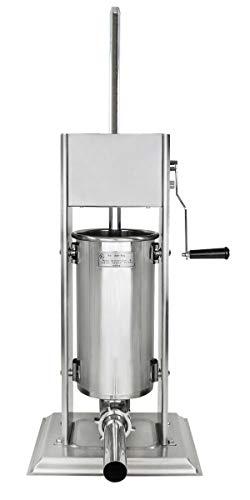 Edelstahl Wurstfüllmaschine (5 Liter Volumen), Wurstfüller mit 2 Gang Getriebe, Handkurbel und Entlüftungsventil, inkl. 4 Edelstahl Fülltüllen (16, 19, 25 und 38 mm Ø)