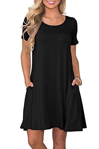 Bequemer Laden Damen Casual Sommer T Shirt Kleid Kurzarm Swing Kleider mit Taschen, XXL, Schwarz