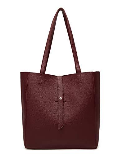 Dreubea Women's Large Tote Shoulder Handbag Soft Leather Satchel Bag Hobo Purse Wine Red