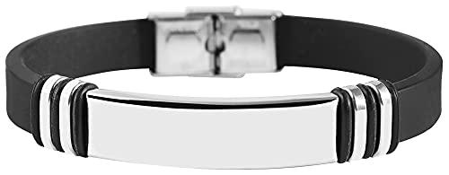 Akzent Pulsera de silicona con elementos de acero inoxidable, color negro y plateado.