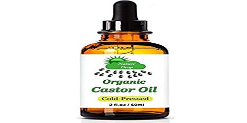Nature Drop's Organic Castor Oil ,2 oz - 100% USDA Certified Pure Cold Pressed Hexane free - Best oil Growth For Eyelashes, Hair, Eyebrows, Face and Skin, Triple Filtered, Great for Acne
