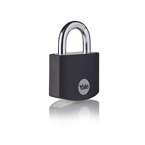 Yale YE3B/38/119/1/BK - Black Aluminium Padlock (38 mm) - Indoor Lock for Locker, Backpack, Tool Box - 3 Keys - Standard Security