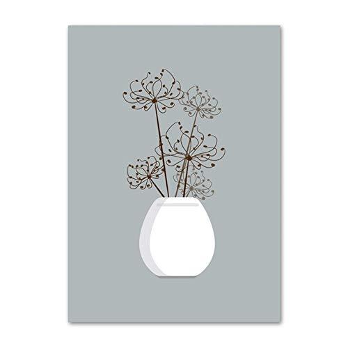 LiMengQi2 Plantas en macetas Flores Arte de la Pared Lienzo Pintura nórdica Carteles e Impresiones Lienzo Mural impresión en Lienzo de la Sala (sin Marco)