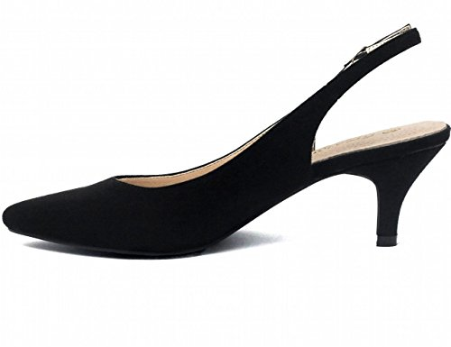 Greatonu Womens Black Wedding Adjustable Sling Back Low Heel Dressy Pumps Size 8