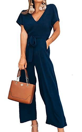 ECOWISH Women V Neck Short Sleeves Tie Waist Jumpsuits Long Wide Pants Casual Jumpsuit with Pockets Navy Blue X-Large