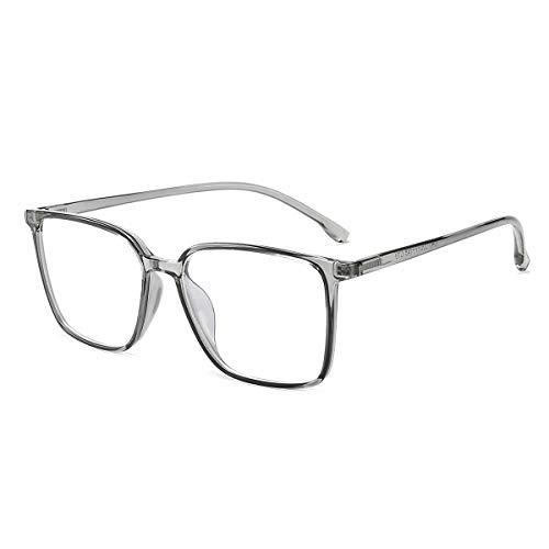 Blaulichtfilter Brille ComputerBrille Pc Gaming Blueblocker Glasses Anti Blaulicht Brille Ohne Sehstärke Damen Herren Durchsichtig Grau