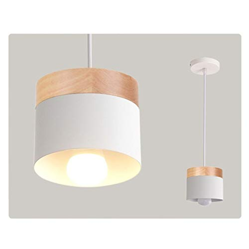 LIGHTXYX Moderne LED Pendelleuchte mit Holz Eisen Dining Room Bar Cafe Restaurant Nordic Indoor Holzzylinder Hängelampe,Weiß,13X11CM