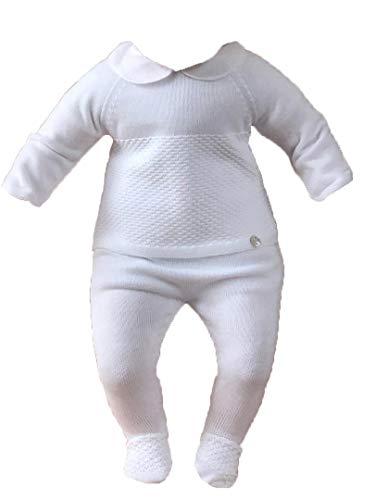 PAZ Rodriguez - Conjunto de traje de punto para bebé, 2 piezas, color blanco Blanco 9 Meses