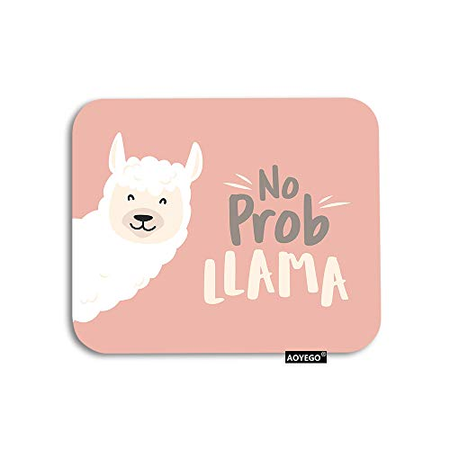 AOYEGO Llama Mouse Pad Cute Cartoon Animal Baby Llama with No Prob Llama Motivational Quote Gaming Mousepad Rubber Large Pad Non-Slip for Computer Laptop Office Work Desk 9.5x7.9 Inch Pink