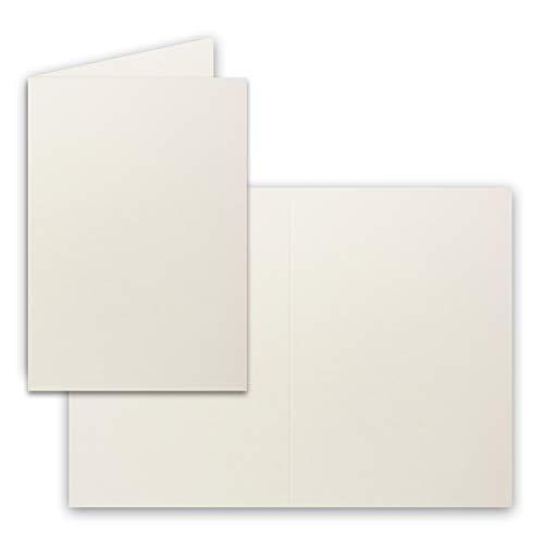 50x Falt-Karten DIN A6 in Natur-Weiß - Blanko - Doppel-Karten - 250 g/m²
