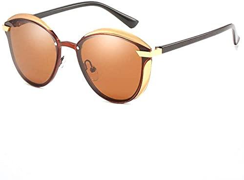 Gafas de sol para hombre y mujer, para conducción, oscurecimiento, retro, para playa, viajes, ciclismo, pesca, UV400, polarizadas UV, marco ultrafino, dorado (color: negro)