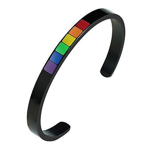 FITYLE Pulsera Orgullo Gay - Pulsera LGBT, Joyería Orgullo Gay, Pulsera Orgullo Orgullo Gay - Negro