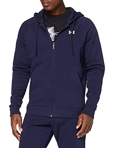 Under Armour UA Rival Cotton FZ Hoodie Sudadera para Hombre, Azul (Midnight Navy/Onyx White), M