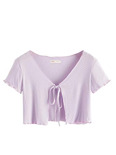 SweatyRocks Women's Tie Up Crop Top Short Sleeve Ribbed Knit Open Front Cropped Shirts Purple Small