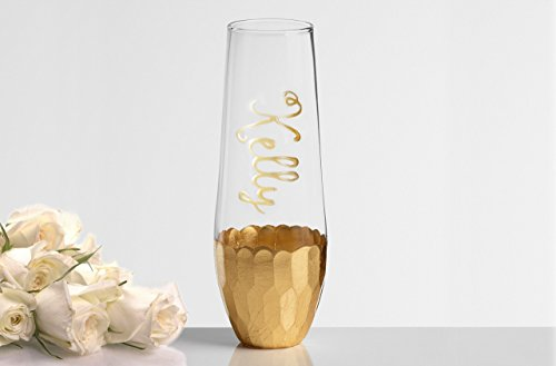 Personalized Hand Painted Gold or Rose Gold Stemless Champage Flutes, Customized with Bridal party and Bridesmaids Names
