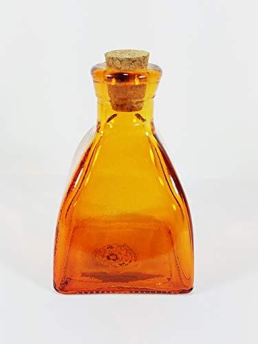 Backwoods Lighting LLC Orange Colored Glass Square Vase H - 4.25 inches Vintage Style Apothecary Jar 6.8 oz Decorative Bottle for Home Decor