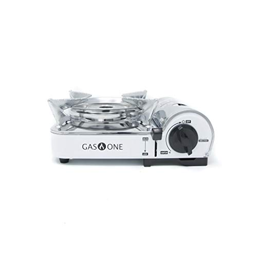 GasOne GS-800 Emergency Gear Camping Mini Butane Portable Gas Stove with Carrying Case, Stainless Steel, White