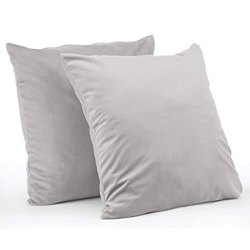 mDesign Juego de 2 fundas de cojín – Forro para cojines hipoalergénico de poliéster con aspecto de terciopelo – Suaves fundas decorativas para cojines de sofá sin relleno – gris