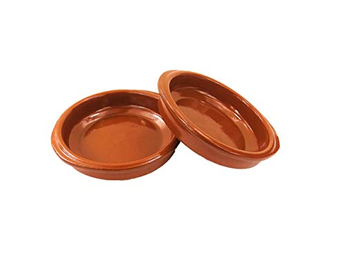 Pack de 2 cazuelas de barro de 14 cm de diámetro. Apta para el Horno, Gas, vitrocerámica y para lavavajillas. Hecho en España a mano.