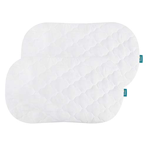 Bassinet Mattress Cover Compatible with Halo Bassinest Swivel Sleeper Bassinet Mattress Pad, 2 Pack, Microfiber, Waterproof and Soft, White
