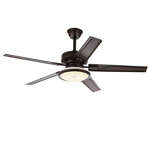 48' Ceiling Fan Light Modern Ceiling Fan Light Reversible Fan Lamp Fixture w/Remote Control 3-light Dimmable 3-speed Adjustable Suitable for All Seasons for Living Room/Bedroom/Restaurant (B)