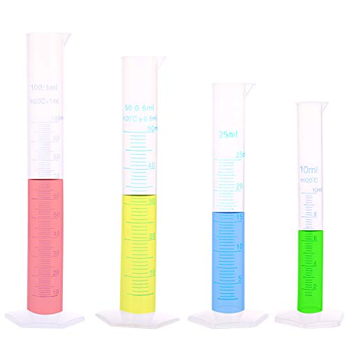 Cilindro de Medición Plástico Para Herramientas de Laboratorio de Tubos de Ensayo 10ml 25ml 50ml 100ml 4 Piezas. Juego