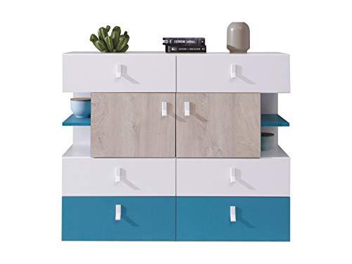 Furniture24 Kommode Planet PL-8, Mehrzweckschrank, Sideboard, Schrank, Highboard, Jugendzimmerschrank mit 6 Schubladen und 2 Türen (Weiß/Eiche/Marine)