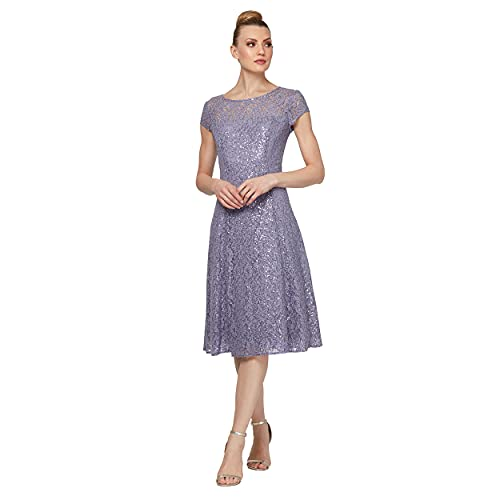 S.L. Fashions Women's Short Sleeve Tea Length Fit and Flare Dress (Petite Missy), Mystic Heather Sequin, 14