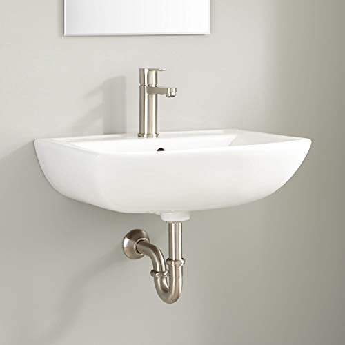 Signature Hardware 936360 Kerr 22' Vitreous China Wall Mounted Bathroom Sink with Single Faucet Hole and Overflow