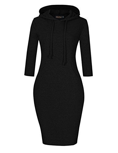 GloryStar Women's Casual Fitted long Sleeve Pullover Pocket Knee Length Sweatshirt Hoodie Dress