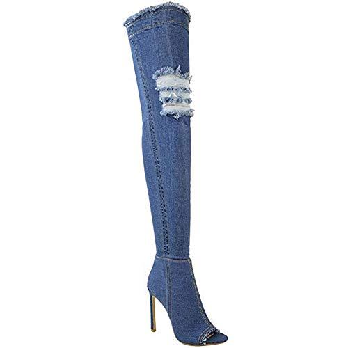 Seamido Denim Stiefel Damen Überknie Cut Out Stiefel Oberschenkel High Heels Stilettos Stretch Langschaft Jeans Stiefel Boot mit Reißverschluss