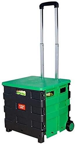 Portable Foldable Plastic Shopping Trolley Lightweight Teacher's Book Cart Wheeled Folding Storage Box with Aluminium Handle,Blackyellow