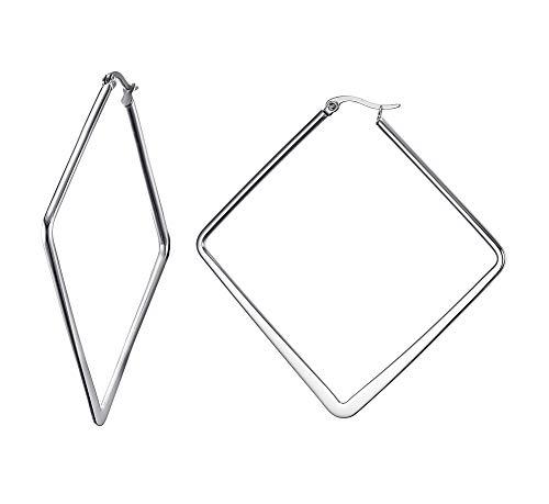 VNOX Edelstahl große quadratische Höhle aus Minimalistische Geometrie Hoop Ohrringe für Frauen Mädchen,Silber