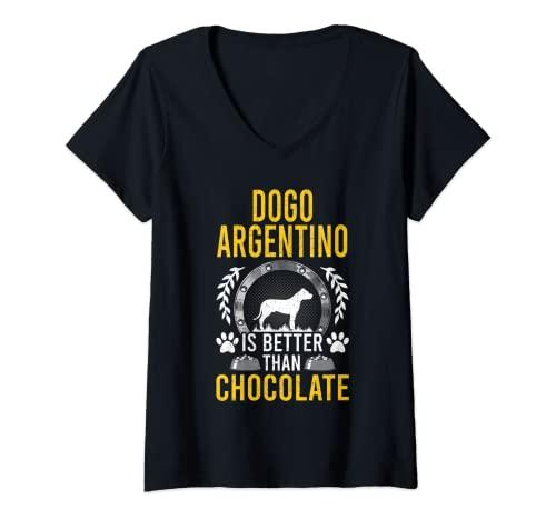 Mujer Dogo Argentino es mejor que el dueño del perro amante del chocolate Camiseta Cuello V