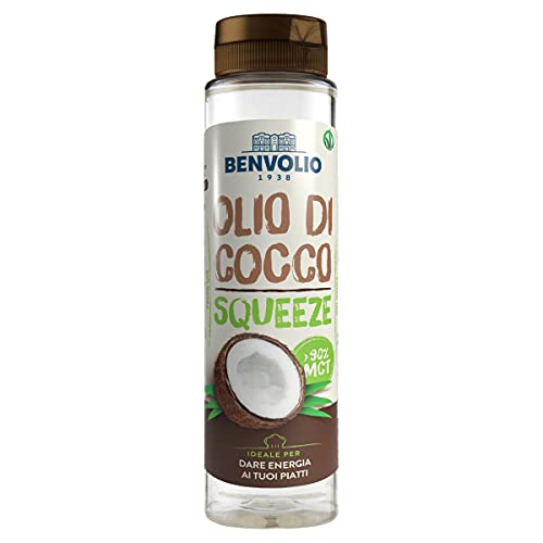 Benvolio1938 Olio di Cocco Liquido Squeeze MCT Oil - 250ml - KETO Diet Paleo Vegan 100% Vegetale Bulletproof Coffee Coconut Oil Olio di Cocco Corpo e Capelli Alimentare