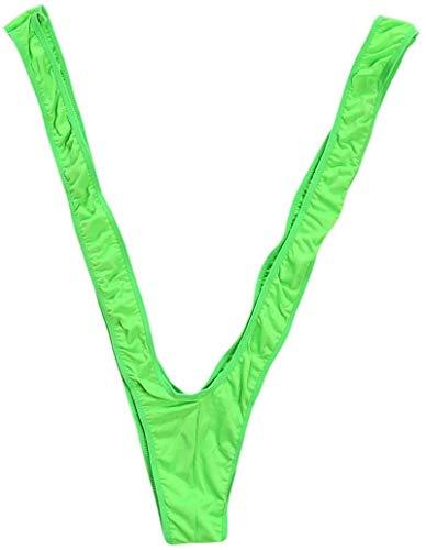 Bommi Fairy Borat Mankini Herren Wäsche-Badeanzug Thong Swimsuit Straps Body Party-Kostüm Bikini für Männer Bademode für Herren Fun-Bodys Einteiler V Sling Partykleidung und Geschenke (Grün)