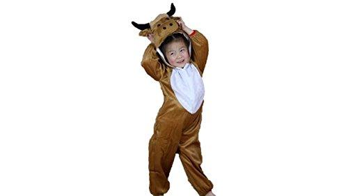 Matissa Niños Disfraces de Animales Niños Niñas Unisex Disfraces Cosplay Niños Onesie (Toro, S (para niños de 80 a 90 cm de Altura))