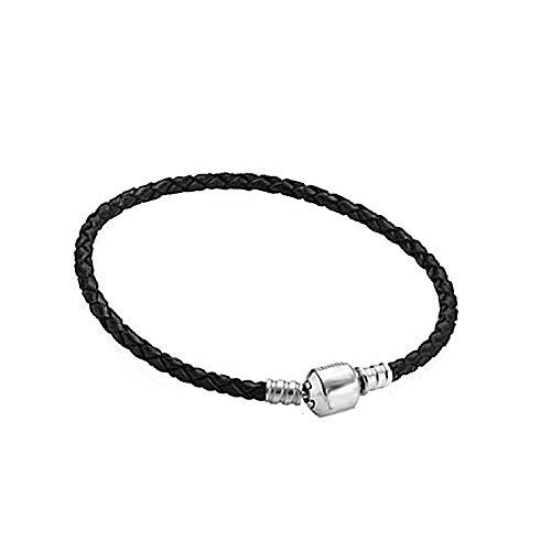 Damen Armband für Charm Beads Perle Anhänger Edelstahl Armreif Pandora style Charms kompatibel Modell A-925 Leder 22cm