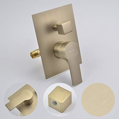 SHAMANDA Brass Rainfall Shower System, Luxuly Bathroom Shower Faucet Combo Set Brushed Champaign Gold(Including Rough-In Valve Body and Trim), L7001-3