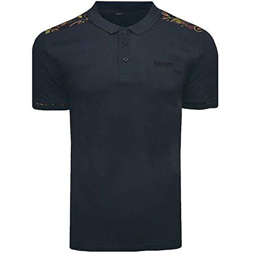 Lambretta Herren Poloshirt mit Paisleymuster, kurzärmelig Gr. 58, Paisley Schulter, Marineblau